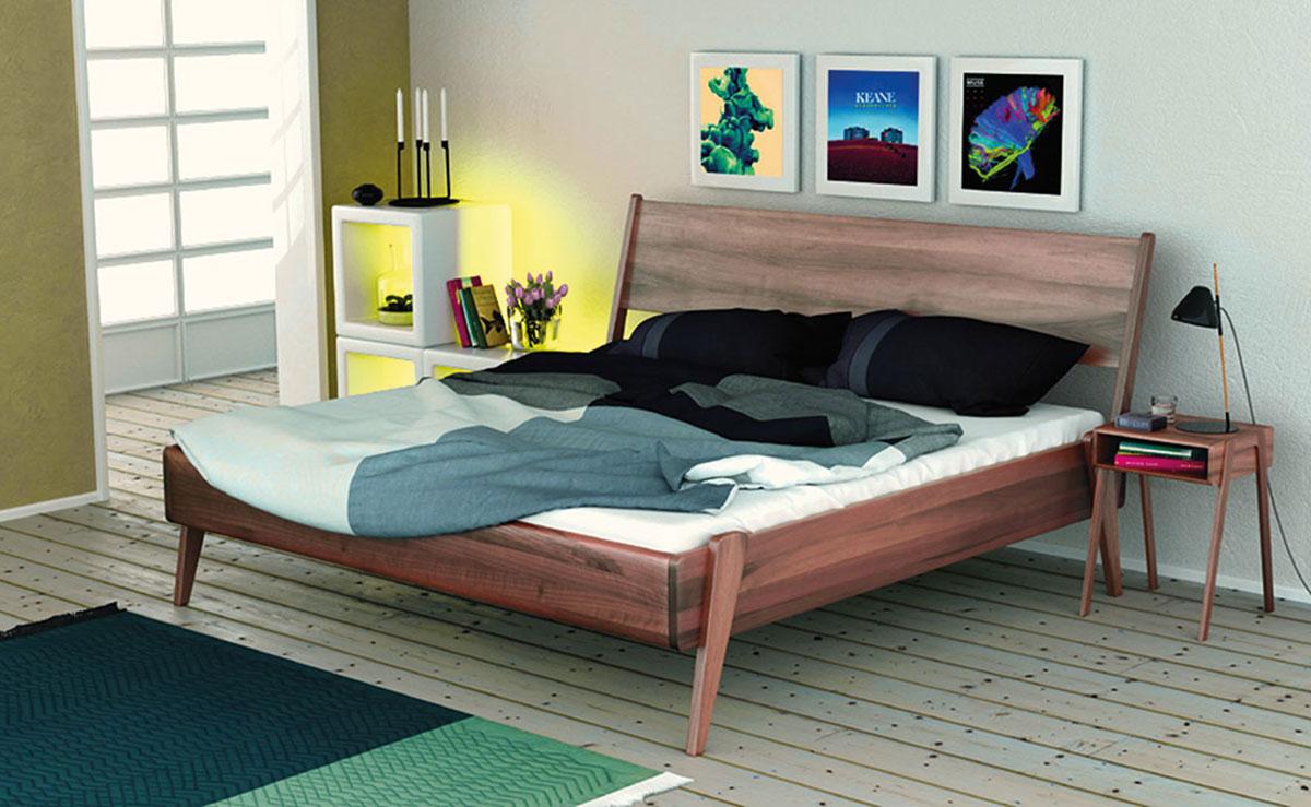 RastDesign Bett Catania Nussbaum dunkel Massivholz