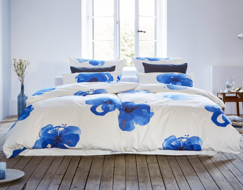 Cotonea Bio Satin-Bettwäsche Blaue Anemone